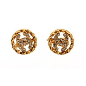 Chanel Crystal CC Clip-On Earrings